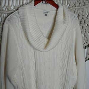 Avenue white cable knit cowlneck sweater